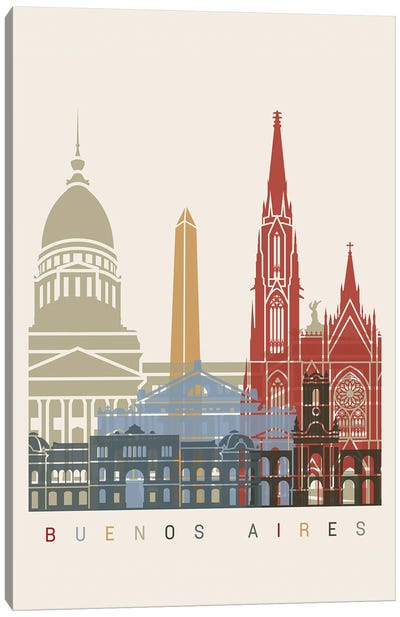 Buenos Aires Skyline Poster Canvas Art Print