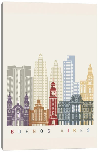 Buenos Aires II Skyline Poster Canvas Art Print