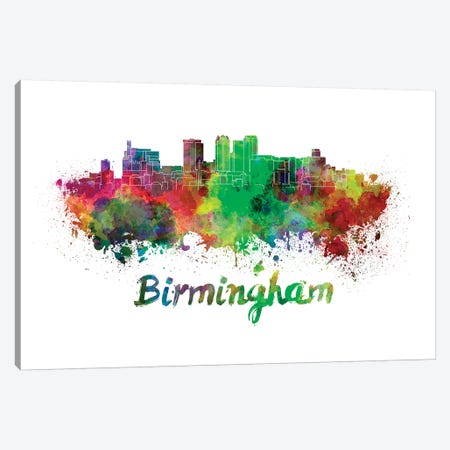 Birmingham Al Skyline In Watercolor Canvas Print #PUR93} by Paul Rommer Canvas Art Print