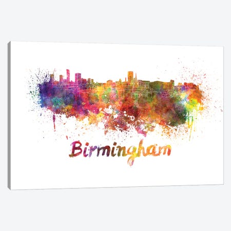 Birmingham Skyline In Watercolor Canvas Print #PUR94} by Paul Rommer Canvas Wall Art