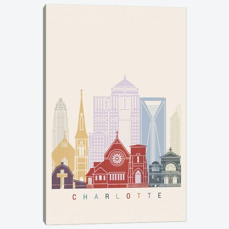 Charlotte II Skyline Poster Canvas Print #PUR951} by Paul Rommer Canvas Art