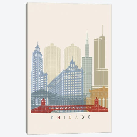 Chicago Skyline Poster Canvas Print #PUR954} by Paul Rommer Canvas Art Print