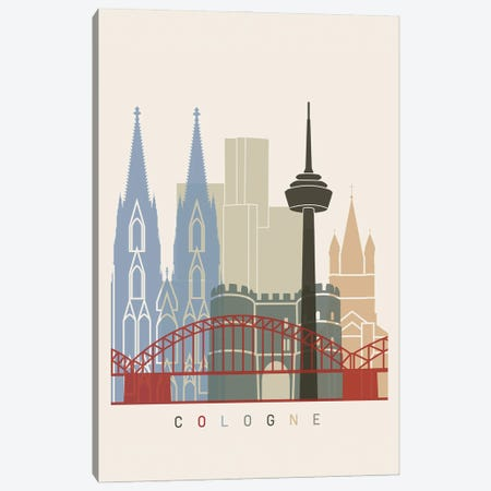 Cologne Skyline Poster Canvas Print #PUR955} by Paul Rommer Canvas Print