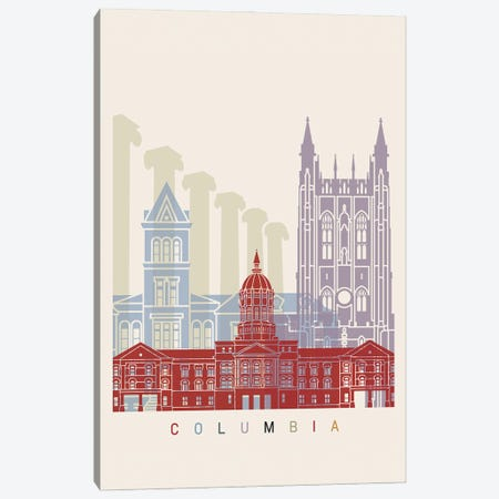 Columbia Skyline Poster Canvas Print #PUR957} by Paul Rommer Canvas Print