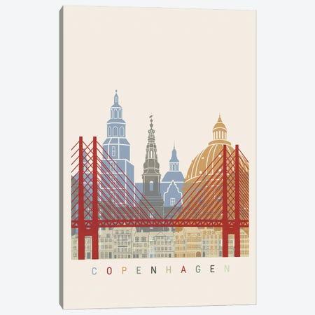 Copenhagen Skyline Poster Canvas Print #PUR959} by Paul Rommer Canvas Artwork
