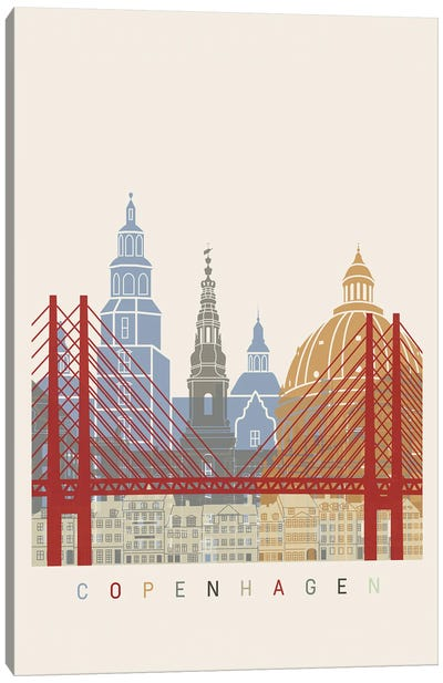 Copenhagen Skyline Poster Canvas Art Print