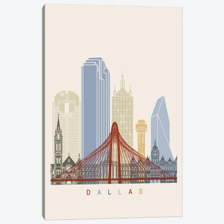 Dallas Skyline Poster Canvas Print #PUR964} by Paul Rommer Canvas Art