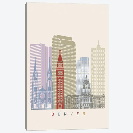 Denver Skyline Poster Canvas Print #PUR967} by Paul Rommer Canvas Wall Art