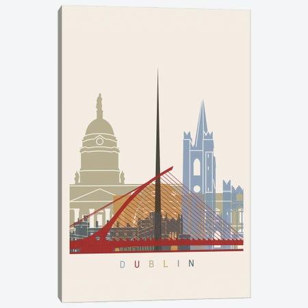 Dublin Skyline Poster Canvas Print #PUR974} by Paul Rommer Canvas Print