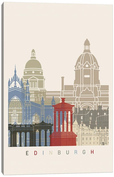 Edinburgh Skyline Poster Canvas Art Print