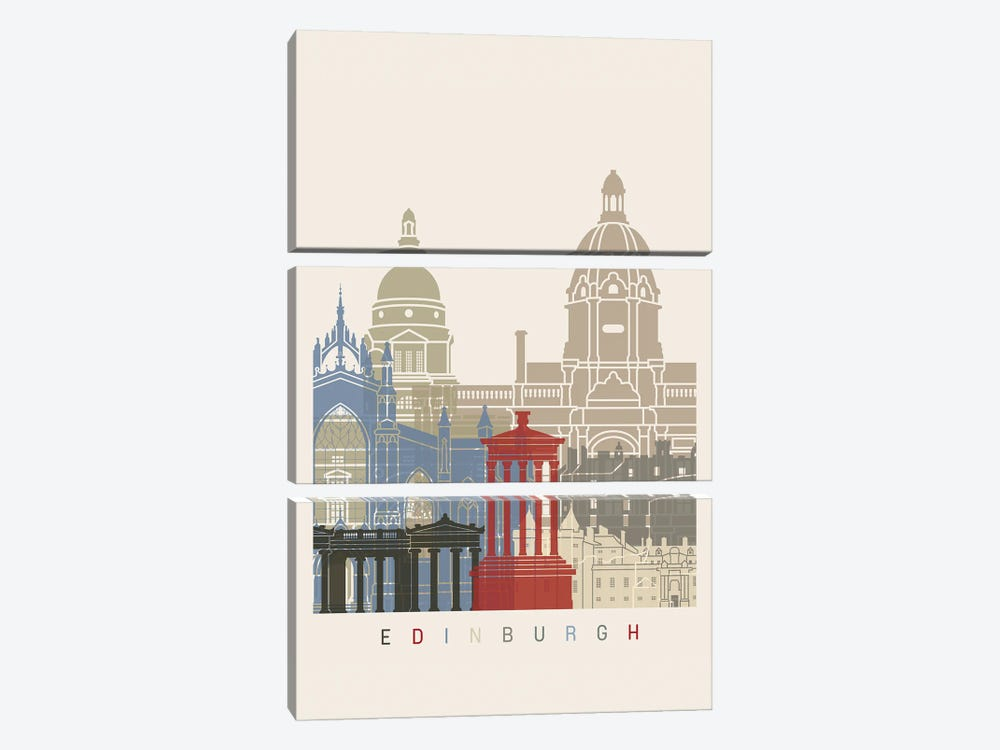 Edinburgh Skyline Poster by Paul Rommer 3-piece Canvas Art
