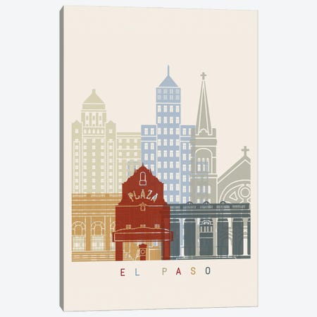 El Paso Skyline Poster Canvas Print #PUR979} by Paul Rommer Canvas Wall Art