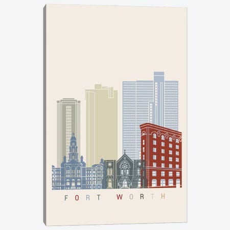 Fort Worth Skyline Poster Canvas Print #PUR983} by Paul Rommer Canvas Art Print