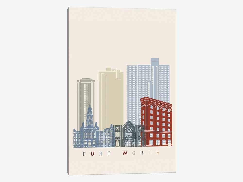 Fort Worth Skyline Poster by Paul Rommer 1-piece Canvas Artwork