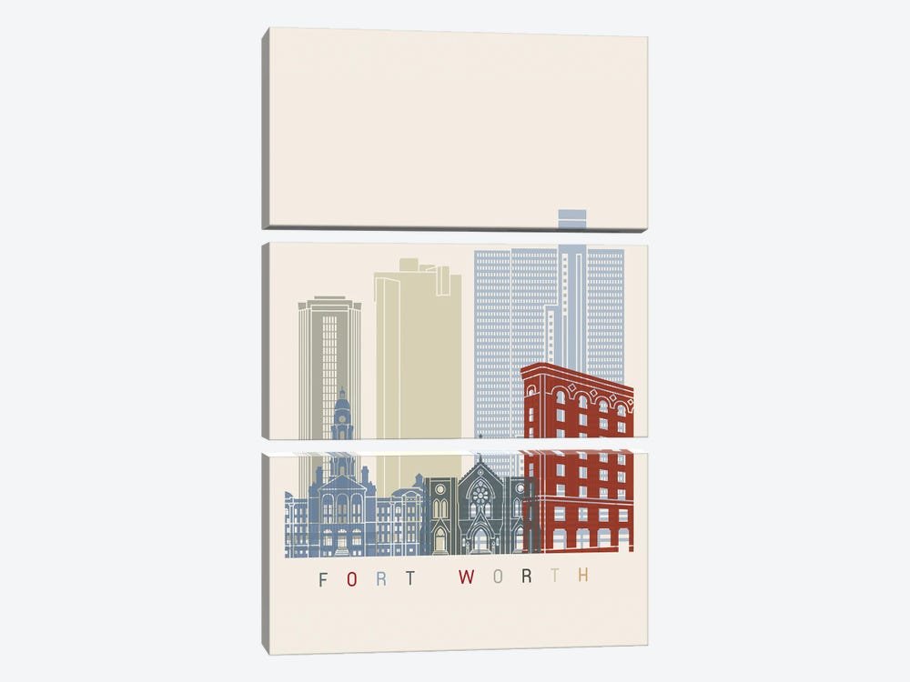 Fort Worth Skyline Poster by Paul Rommer 3-piece Canvas Art