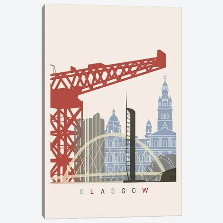 Glasgow Skyline Poster Canvas Print #PUR990} by Paul Rommer Canvas Wall Art