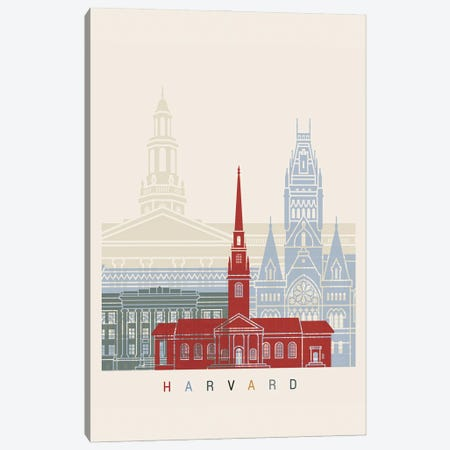 Harvard Skyline Poster Canvas Print #PUR997} by Paul Rommer Canvas Art Print