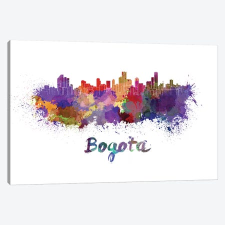 Bogota Skyline In Watercolor Canvas Print #PUR99} by Paul Rommer Canvas Print