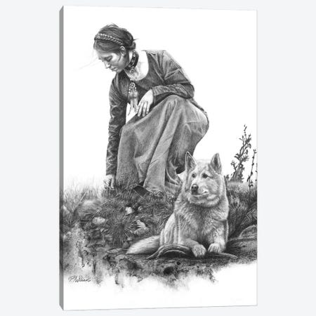 Guardian Spirit Wolf Drawing Canvas Print #PWI210} by Peter Williams Canvas Print