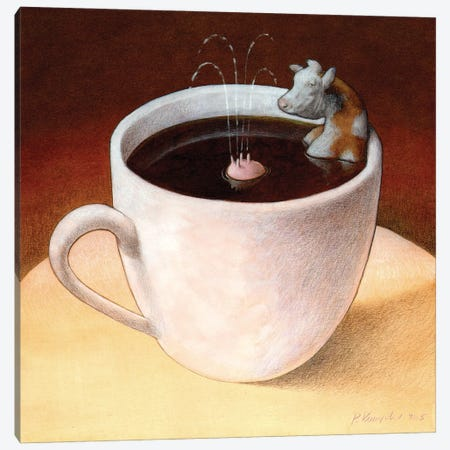Coffee With Milk Canvas Print #PWK20} by Pawel Kuczynski Canvas Art
