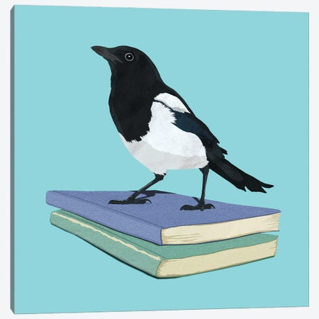 Magpie Librarian Canvas Print #PWR9} by Peter Walters Canvas Art