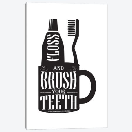 Brush Your Teeth Silhouette Canvas Print #PXY106} by Pixy Paper Canvas Artwork