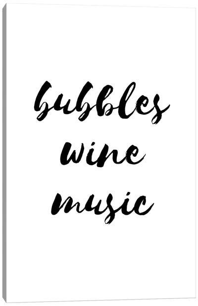 Bubbles Wine Music Canvas Art Print