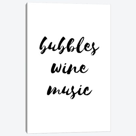 Bubbles Wine Music Canvas Print #PXY107} by Pixy Paper Canvas Artwork