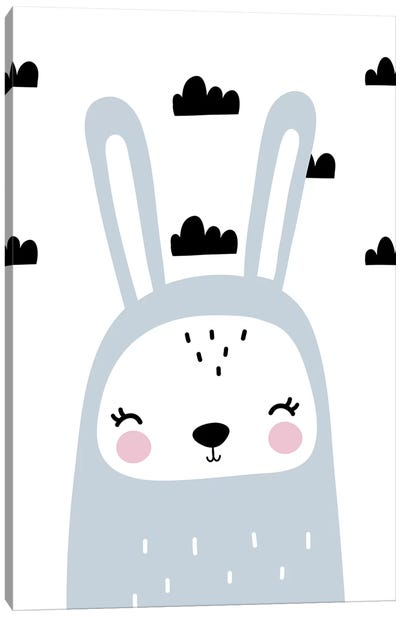 Bunny Blue With Clouds Scandi Canvas Art Print