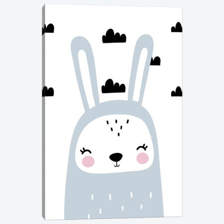 Bunny Blue With Clouds Scandi Canvas Print #PXY109} by Pixy Paper Canvas Print