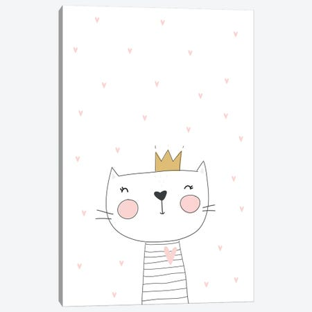 Cat With Crown Stars Canvas Print #PXY122} by Pixy Paper Canvas Art Print