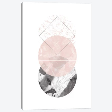Circles Black And Pink Marble Abstract Canvas Print #PXY126} by Pixy Paper Canvas Artwork