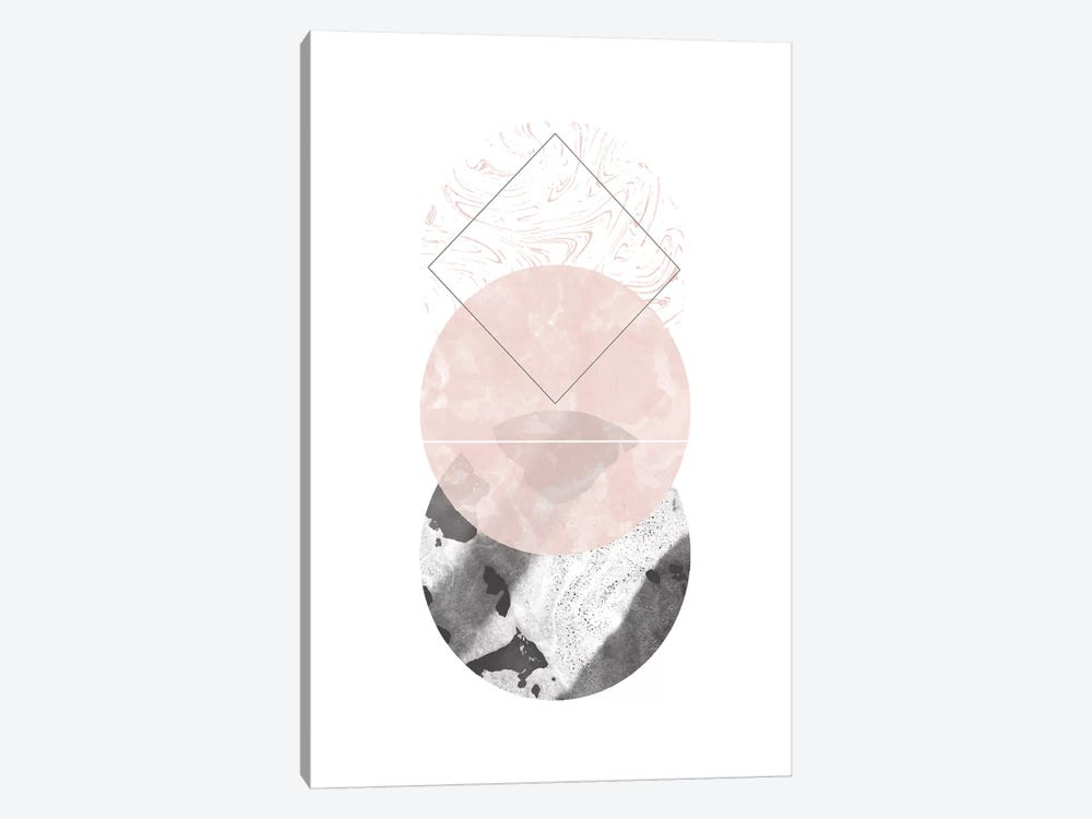 Circles Black And Pink Marble Abstract by Pixy Paper 1-piece Art Print