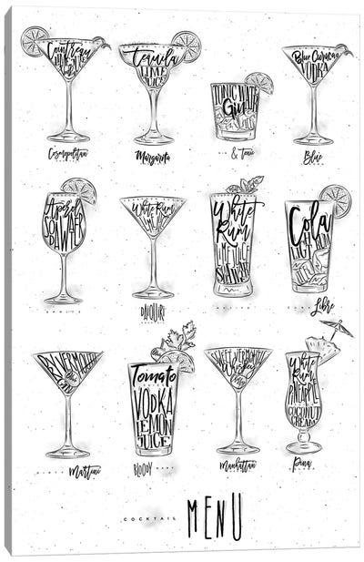 Cocktails Menu Canvas Art Print