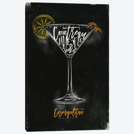 Cosmopolitan Cocktail Black Background Canvas Print #PXY135} by Pixy Paper Art Print