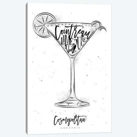 Cosmopolitan Cocktail White Background 3-Piece Canvas #PXY136} by Pixy Paper Canvas Print
