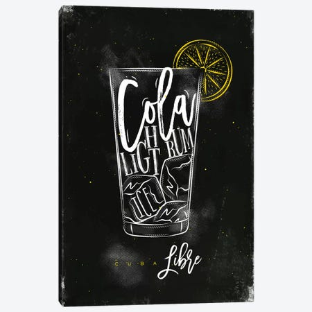 Cuba Libre Cocktail Black Background Canvas Print #PXY138} by Pixy Paper Canvas Art