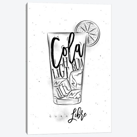 Cuba Libre Cocktail White Background Canvas Print #PXY139} by Pixy Paper Canvas Art
