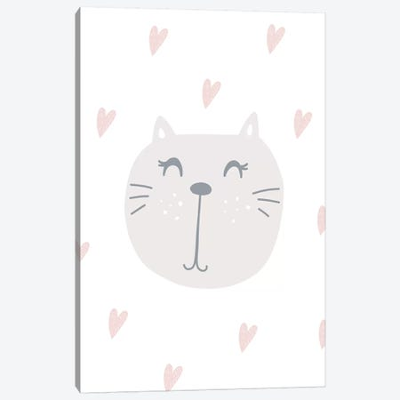 Cute Cat With Hearts Canvas Print #PXY140} by Pixy Paper Canvas Art Print