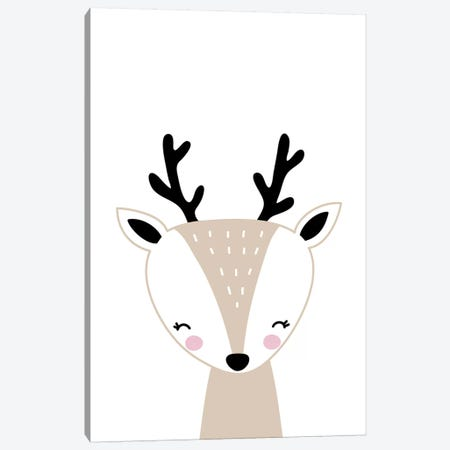 Deer Beige Canvas Print #PXY145} by Pixy Paper Canvas Wall Art