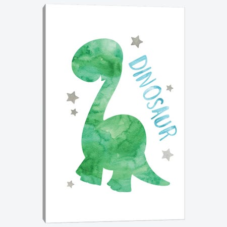 Dinosaur Green & Blue Watercolour Canvas Print #PXY151} by Pixy Paper Canvas Art
