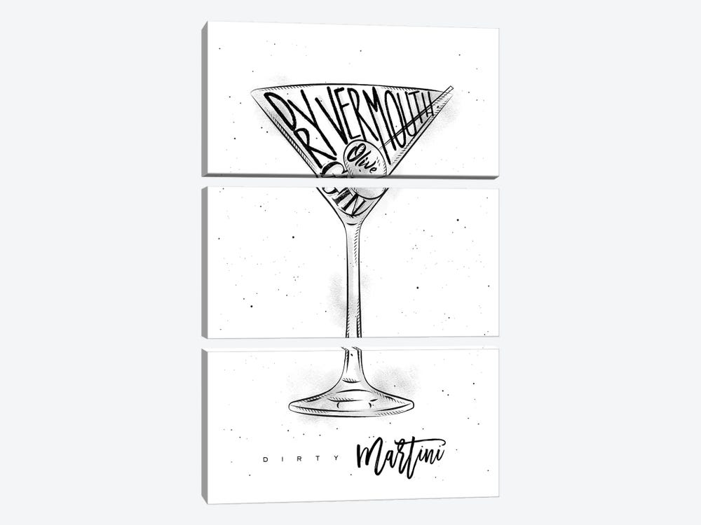 Dirty Martini White Background by Pixy Paper 3-piece Canvas Wall Art
