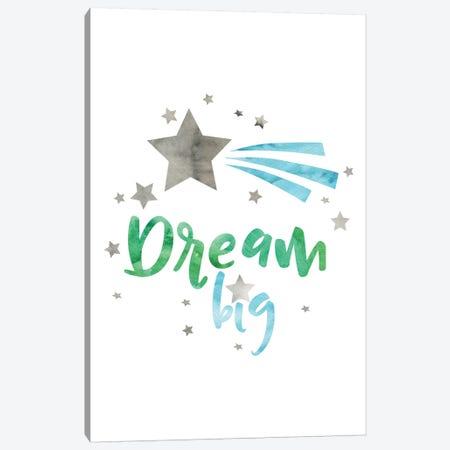 Dream Big Green & Blue Watercolour Canvas Print #PXY161} by Pixy Paper Art Print