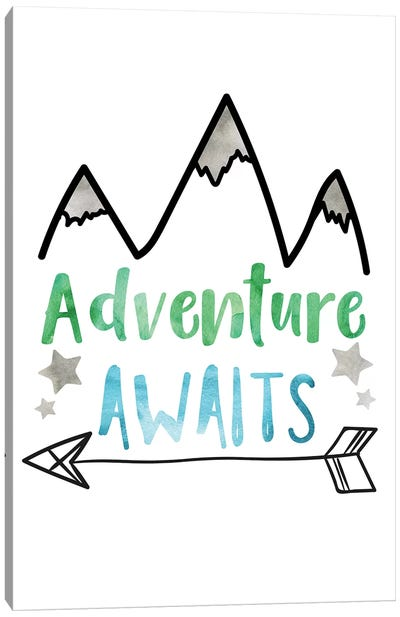 Adventure Awaits Green & Blue Watercolour Canvas Art Print