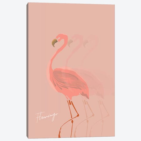 Flamingo Shadow Canvas Print #PXY179} by Pixy Paper Canvas Wall Art