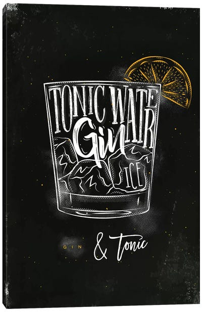 Gin & Tonic Cocktail Black Background Canvas Art Print
