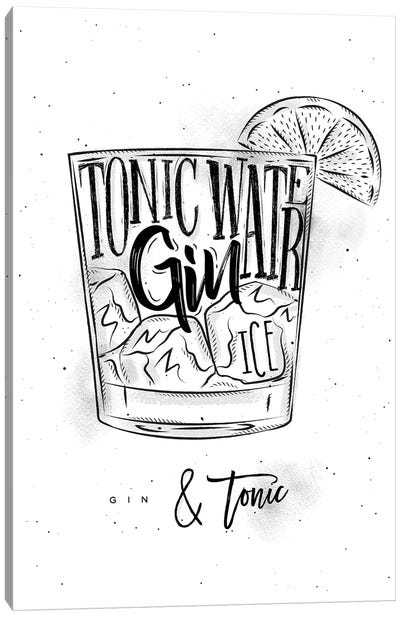 Gin & Tonic Cocktail White Background Canvas Art Print