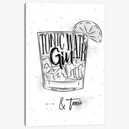 Gin & Tonic Cocktail White Background Canvas Print #PXY200} by Pixy Paper Canvas Artwork