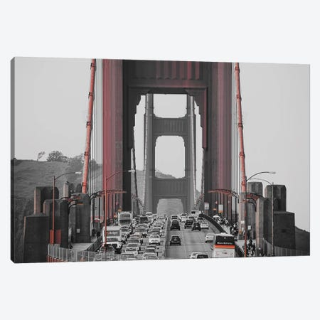 Golden Gate Retro Canvas Print #PXY206} by Pixy Paper Canvas Art Print