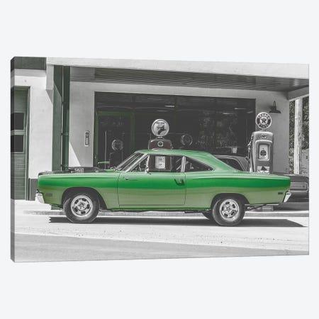 Green Car Gas Pump Canvas Print #PXY210} by Pixy Paper Canvas Art Print